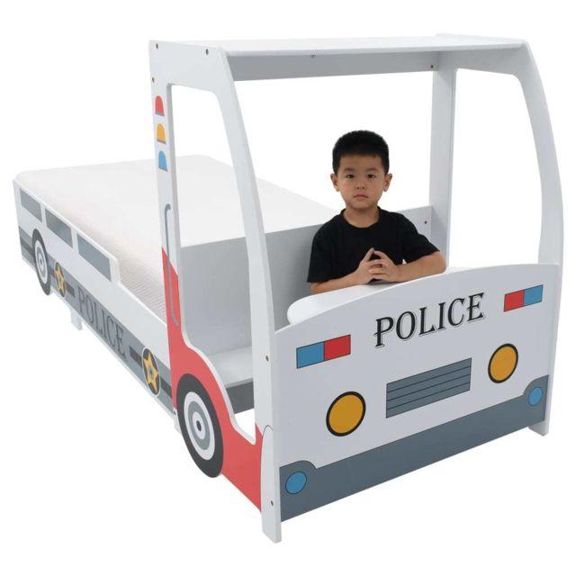 Icaverne - Lits bébés et enfants ligne Lit voiture de police avec matelas pour enfants 90x200cm 7 Zone