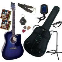 Msa - Pack Guitare Electro-acoustique Bleue 9 Accessoires