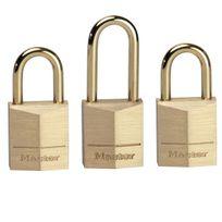 MASTER LOCK - lot de 3 mini cadenas 15mm + 3 clés - 3115eurd