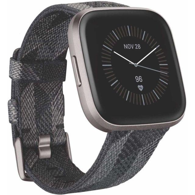Fitbit Versa 2 Special Edition, Smartwatch Health & Fitness avec commande vocale, score de sommeil et musique - Se Smoke tissé
