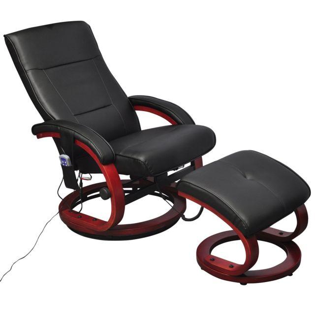 Helloshop26 Fauteuil de massage confort relaxant massage massant détente noir avec repose pied 1702010