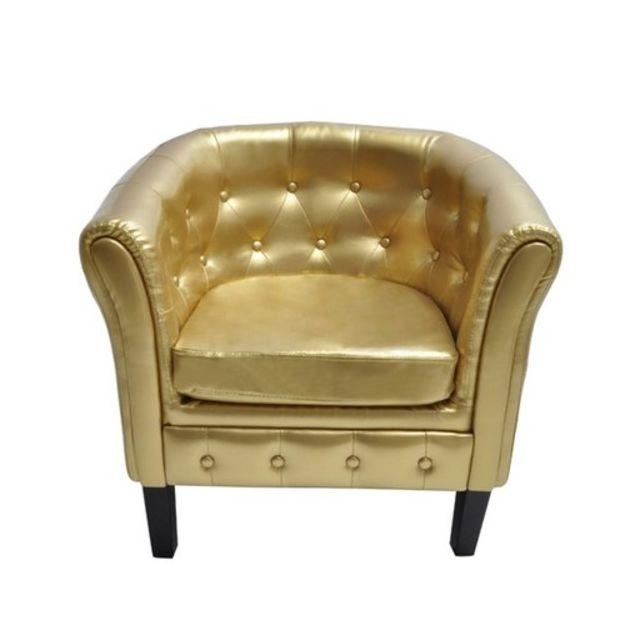 destockoutils fauteuil chesterfield or capitonn blanc pas cher achat vente fauteuils. Black Bedroom Furniture Sets. Home Design Ideas