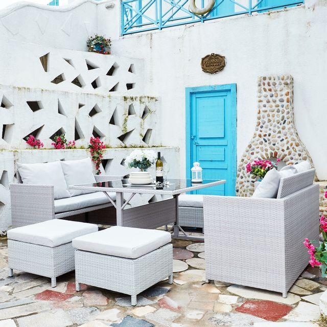 Rocambolesk - Nouméa Gris/Blanc : salon de jardin encastrable en ...
