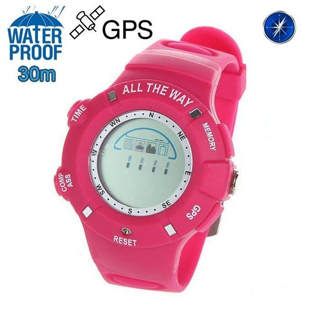 Yonis Montre Gps Waterproof boussole thermomètre mémoire 20 positions Rose