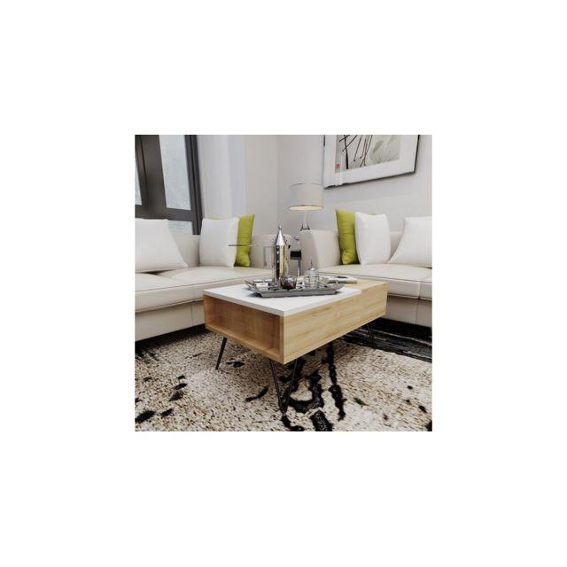 Homemania Table Basse Mixa Relevable Porte-Revues, Livres, Pc - avec Étagères - pour Salon - Chêne, Blanc en Bois, 80 x 50 x 38,6