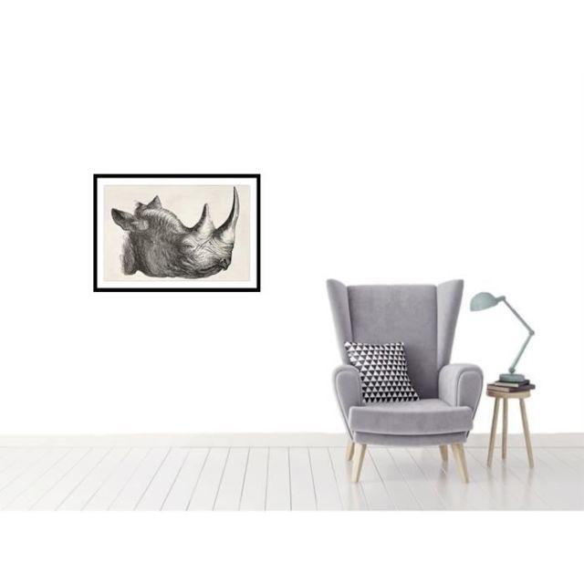 CADRE PHOTO RHINO Affiche encadrée 60x40cm - Rhinocéros noir & blanc