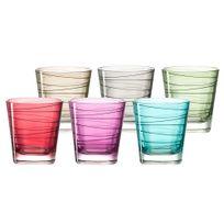 Leonardo - Verres à eau avec motif spirale multicolore - Lot de 6 assortis Vario - Petit