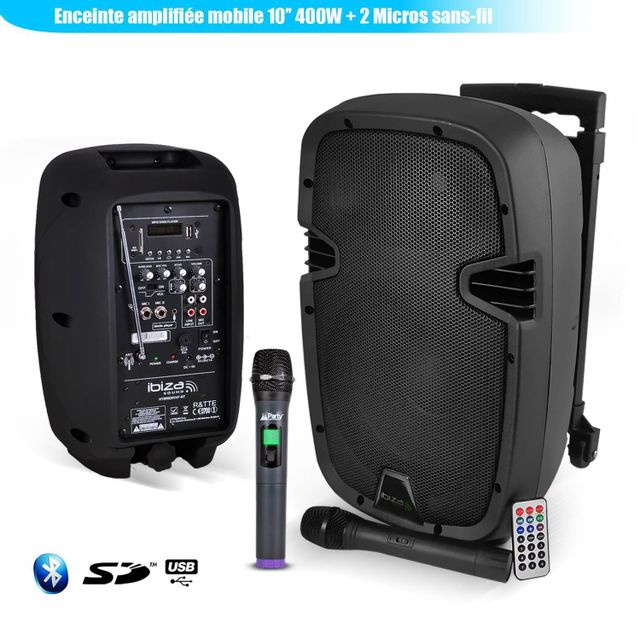 Ibiza Enceinte amplifiée mobile 10
