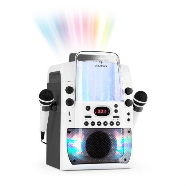 AUNA Kara Liquida BT Chaîne karaoké Jeu de lumières Fontaine d'eau Bluetooth - blanc/gris