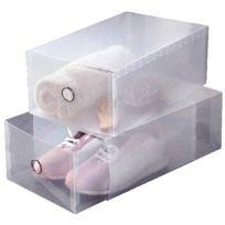Ordinett - Set de 2 boites tiroirs transparentes pour chaussures