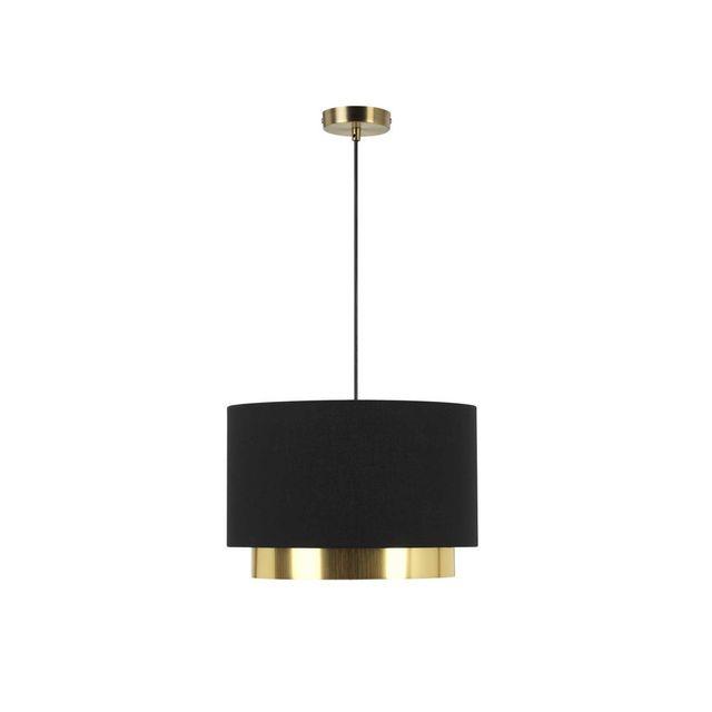 Mathias - Suspension cylindre en métal et tissu noir finition laiton diamètre 36cm Dana