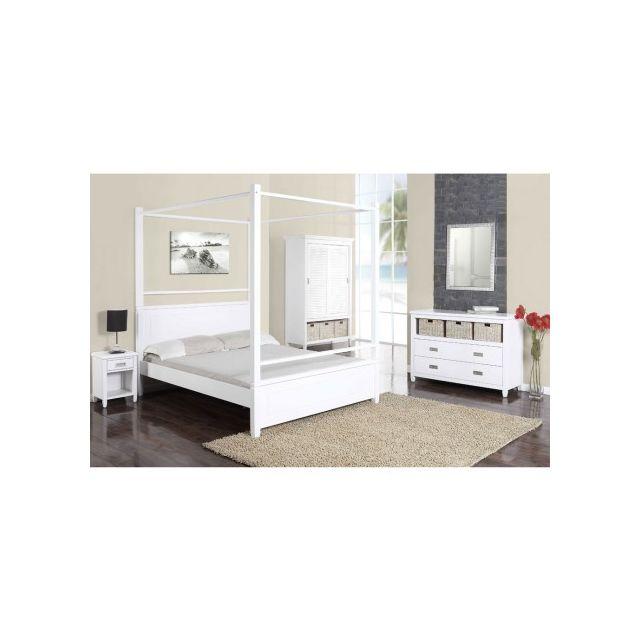 vente unique lit baldaquin guerande 140x190 cm pin blanc pas cher achat vente. Black Bedroom Furniture Sets. Home Design Ideas
