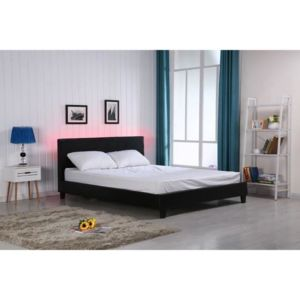 vegas lit led adulte noir 140x190cm sommier tete de lit avec clairage led pas cher achat. Black Bedroom Furniture Sets. Home Design Ideas