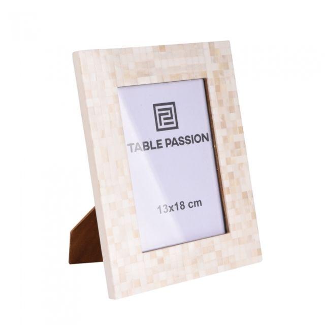 TABLE PASSION Cadre photo 13x18 cm cm Mosaïque blanc
