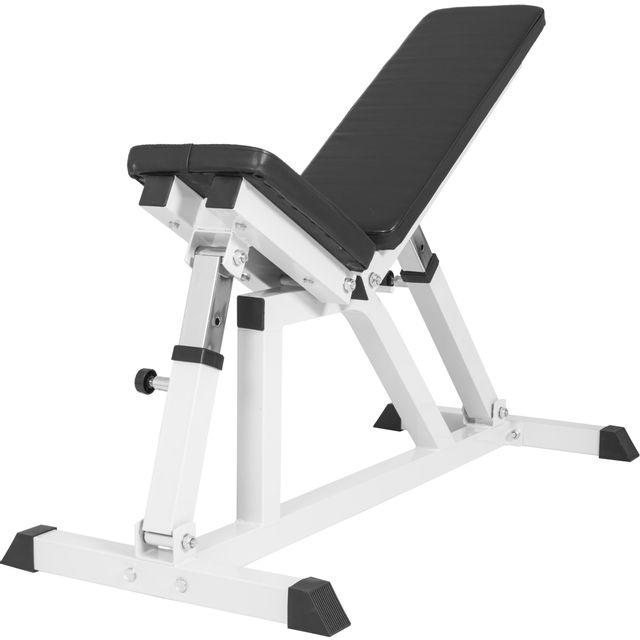 gorilla sports banc de musculation multipositions noir ou blanc blanc pas cher achat. Black Bedroom Furniture Sets. Home Design Ideas