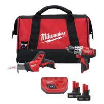 Milwaukee - Perceuse visseuse 12V C12DD/0 + Scie sabre C12HZ + 2 Batteries 3Ah - 4933416530