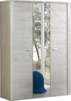 Comforium Armoire 150x202 cm à 3 portes et miroir coloris chêne blanc