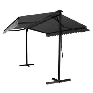 mobeventpro store double pente en aluminium avec coffre gris pas cher achat vente parasols. Black Bedroom Furniture Sets. Home Design Ideas