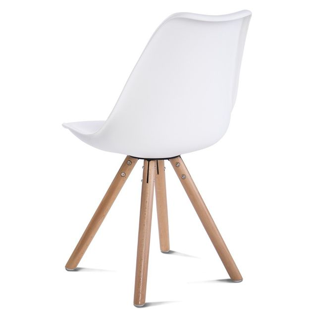 Comfort - Home Innovation – Lot de 4 chaises Freya Blanches et bois hêtre, chaises de salle à manger style Scandinave Blanc. Bois.