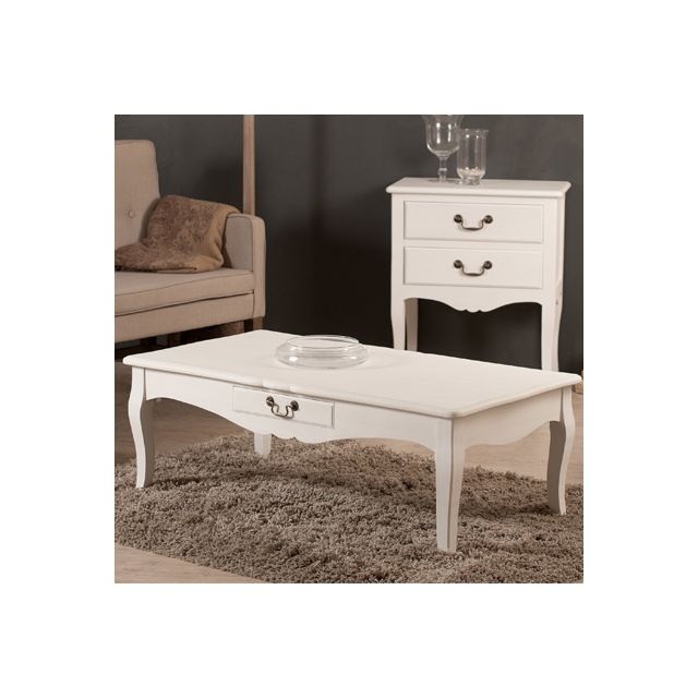 Table basse 2 tiroirs 110x60x40cm coloris blanc