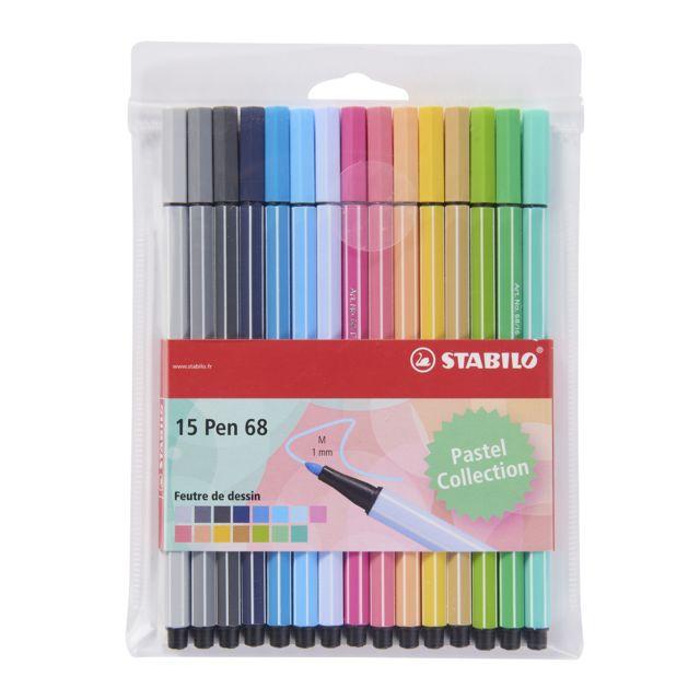 STABILO - PEN68 - Pochette de 15 feutres - Pastel