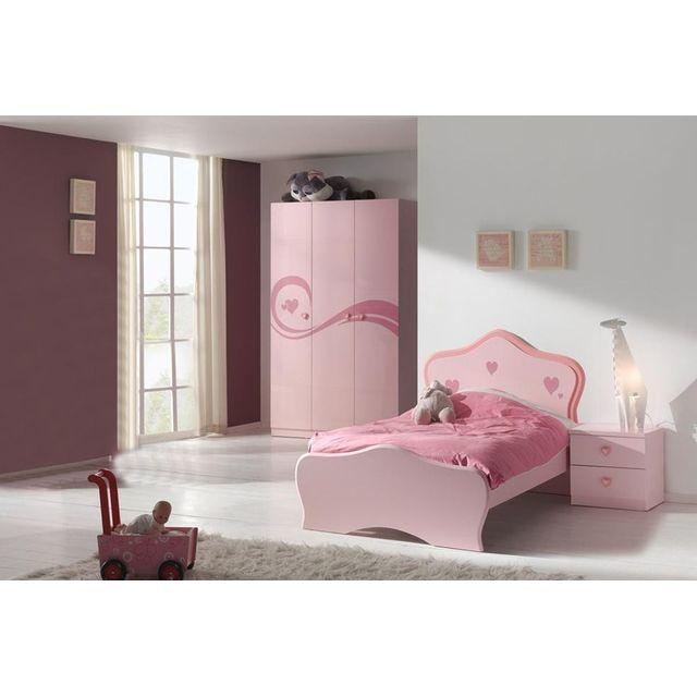 Ensemble 3 pièces pour chambre fille avec lit 90x200 cm chevet et armoire 3  portes coloris rose