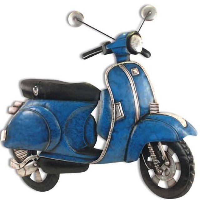 Ancien Scooter out of the blue - grande décoration murale scooter ancien bleu - pas