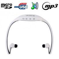 Yonis - Casque sport sans fil lecteur Mp3 audio Micro Sd Running vélo Blanc