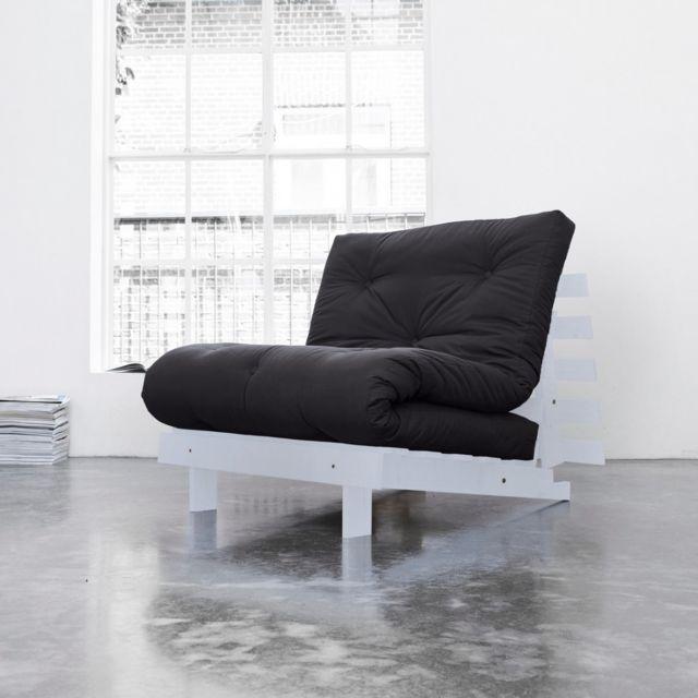 TERRE DE NUIT Pack matelas futon gris anthracite coton structure en bois gris clair 90x200