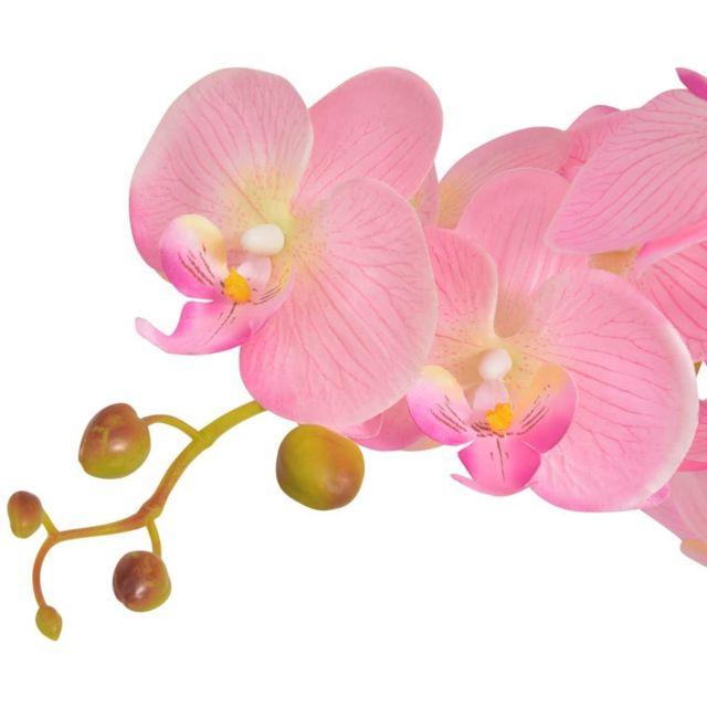 Icaverne - Fleurs et plantes artificielles ligne Plante artificielle avec pot Orchidée 65 cm Rose