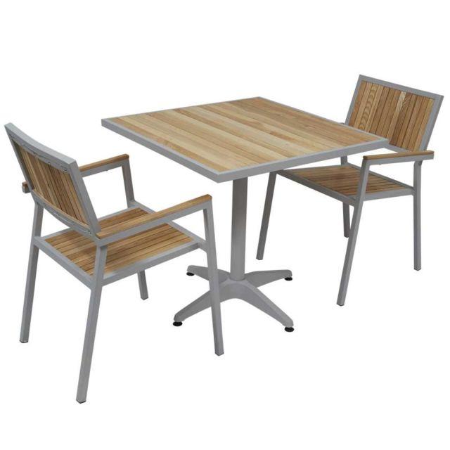 MobEventPro - Salon de jardin - Table carrée et 2 chaises en alu et ...