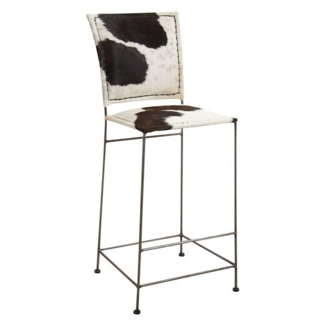 98087155b5a66 AUBRY GASPARD - Tabouret de bar en peau de vache et métal - pas cher ...