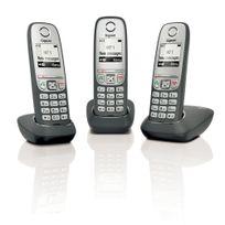 GIGASET - Téléphone fixe sans fil sans répondeur - AS435 - Trio Noir