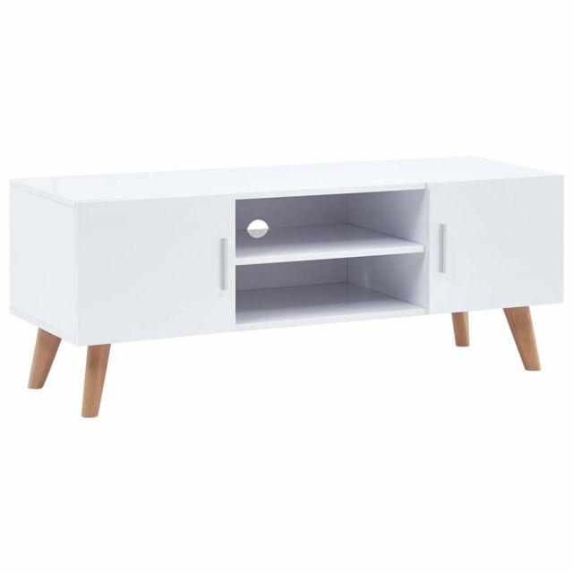 Helloshop26 Meuble télé buffet tv télévision design pratique blanc 120 cm mdf 2502115
