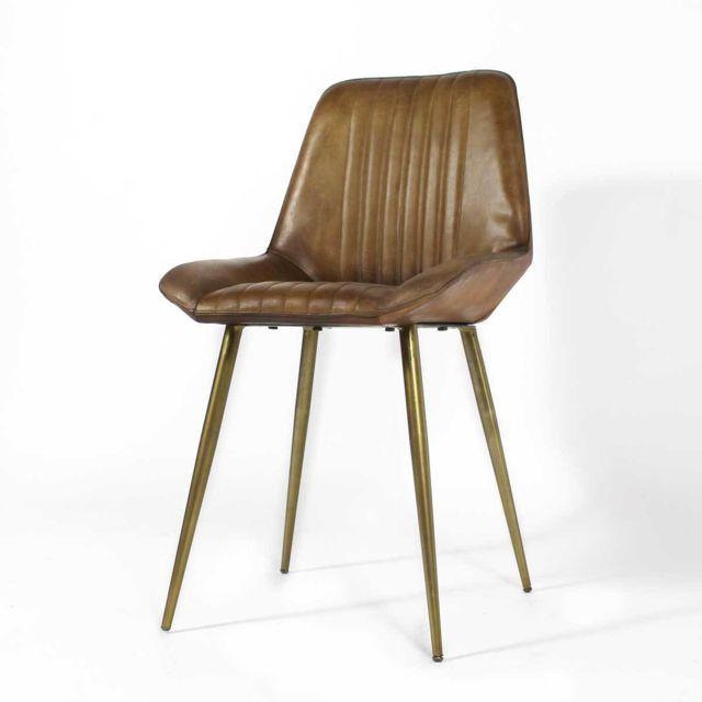 Made In Meubles - Chaise design cuir naturel marron - piétement finition dorée   Me-24C Brown