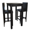 Vidaxl Set de 1 table et 2 tabourets noir
