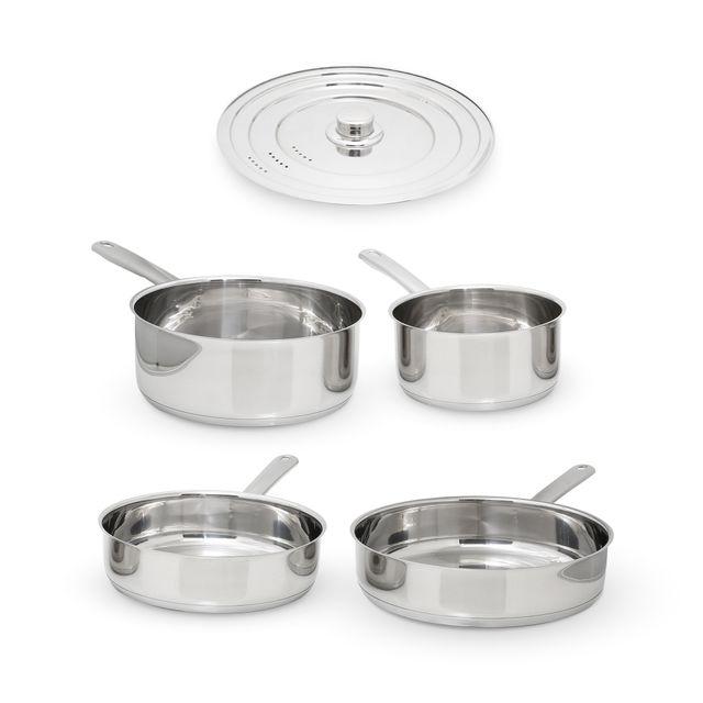 Kitchencook - Batterie De Cuisine 5 Pièces En Inox Compatible Tous Feux Intuition