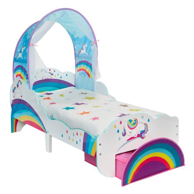 WORLDS APART Lit enfant Design Licornes et arc-en-Ciel avec Ciel de lit et tiroir de Rangement