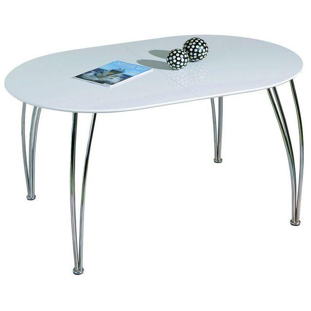 Comforium Table de cuisine extensible blanc laqué et métal