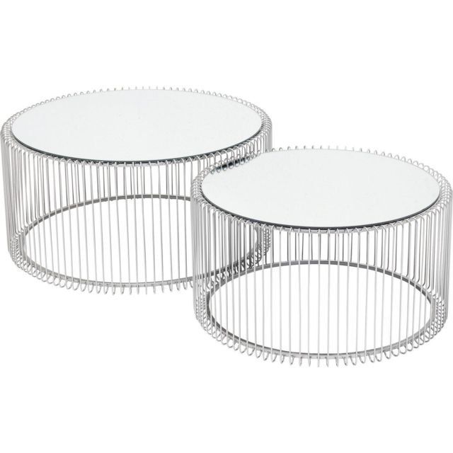 Karedesign Tables basses rondes Wire argentées set de 2 Kare Design