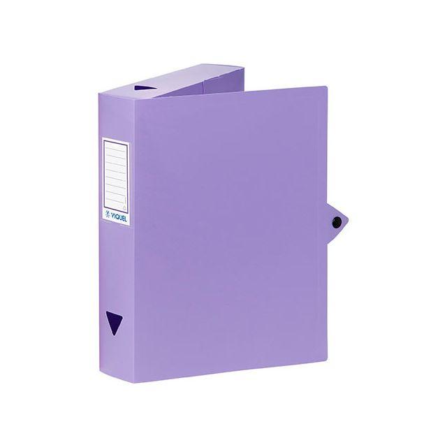 viquel - boîte de classement plastique dos 6 cm - violette - lot de