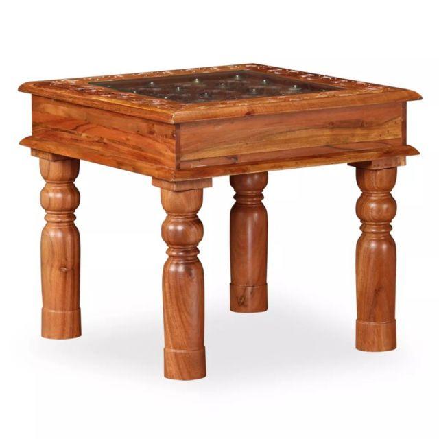 Vidaxl Table Basse Bois d'Acacia Massif Table d'Appoint Canapé et Salon