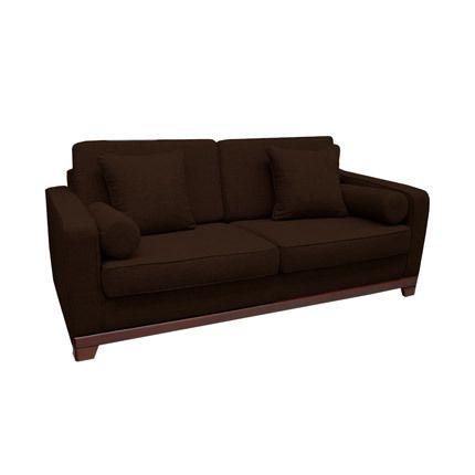 Canapé fixe 3 places en tissu, 100% polyester marron