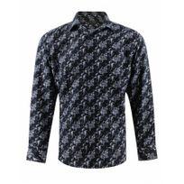 Yves Enzo - Chemise Bleu Marine Motifs
