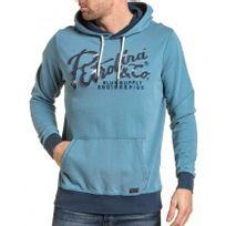 Petrol Industries - Sweat homme bleu à capuche brodé