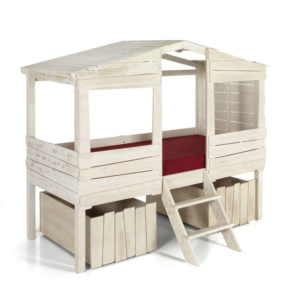 alin a woody wood lit cabane 90x200cm avec 2 tiroirs de rangement pas cher achat vente lit. Black Bedroom Furniture Sets. Home Design Ideas