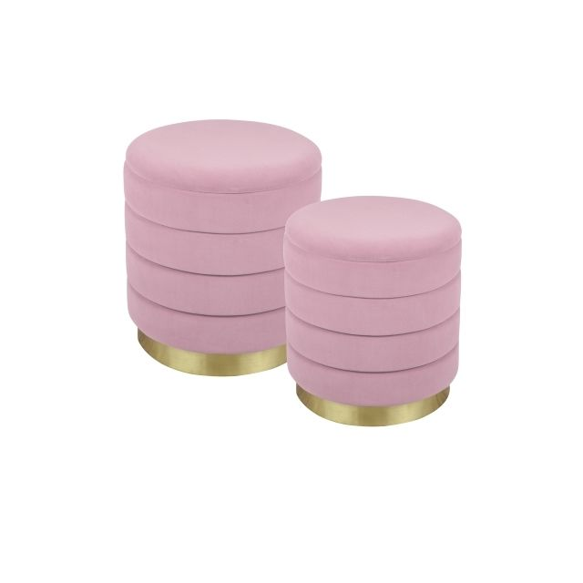 TABLE PASSION Set de 2 poufs rose Bibum 44 et 38 cm