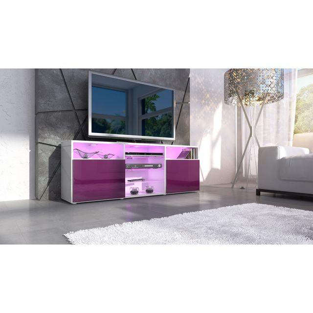 Mpc Meuble design tv blanc et mûre avec led