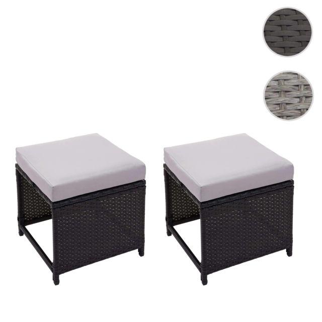 Mendler 2x tabouret en polyrotin Hwc-g16, tabouret de jardin, siège, gastronomie ~ noir, coussin gris clair