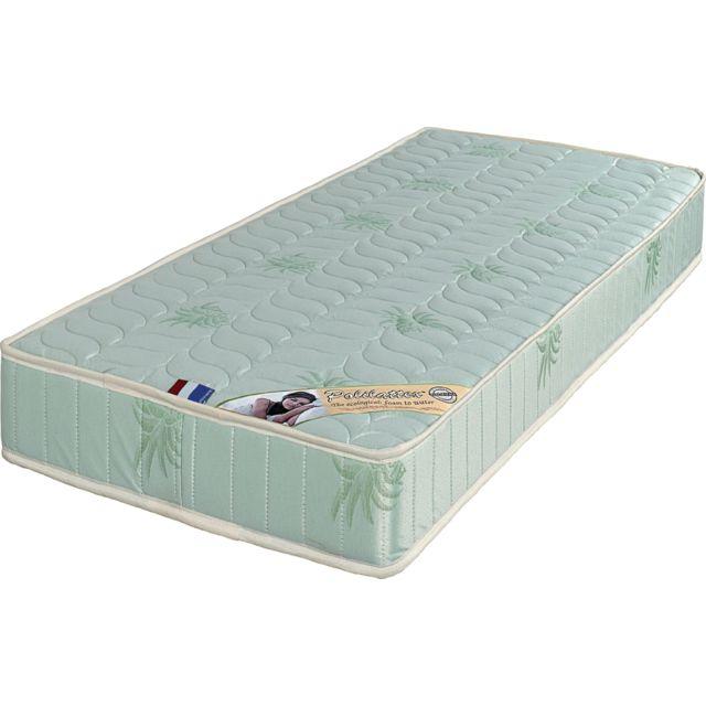 King Of Dreams Luxe Matelas 90x190 Très Ferme Mousse Poli Lattex Indéformable - Face Laine Merinos 100% -tissu à l'Aloé Vera - 19 cm